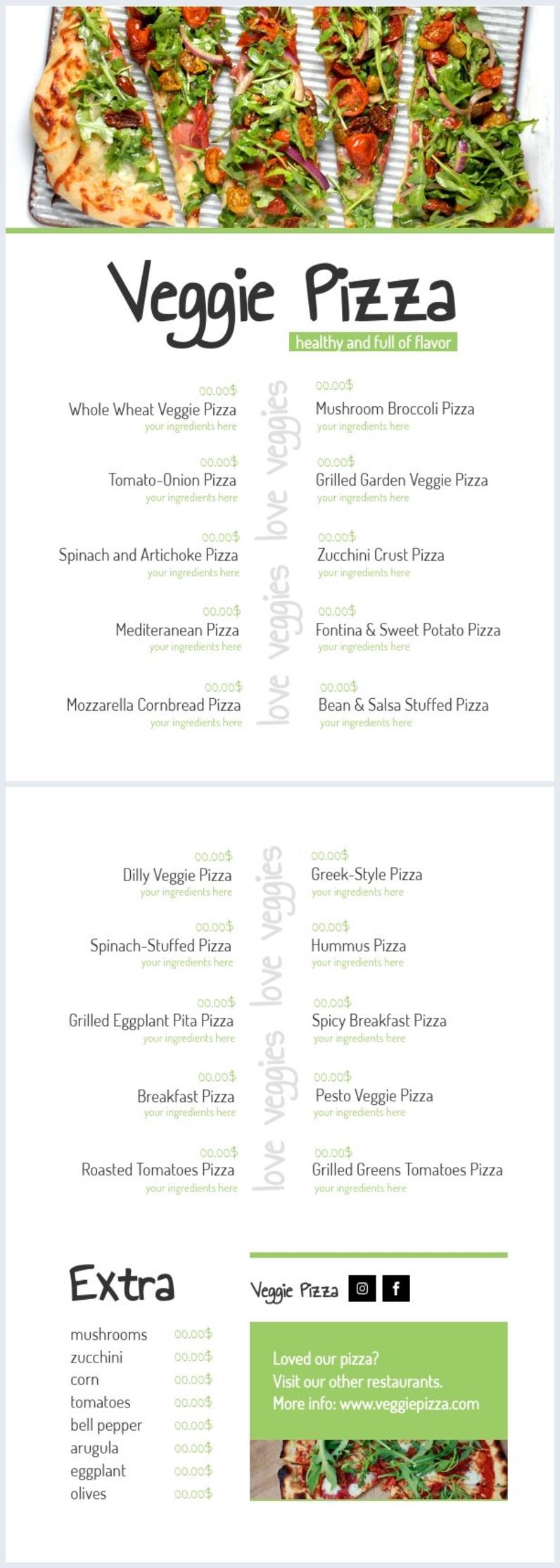 Pizza Menu Template Free