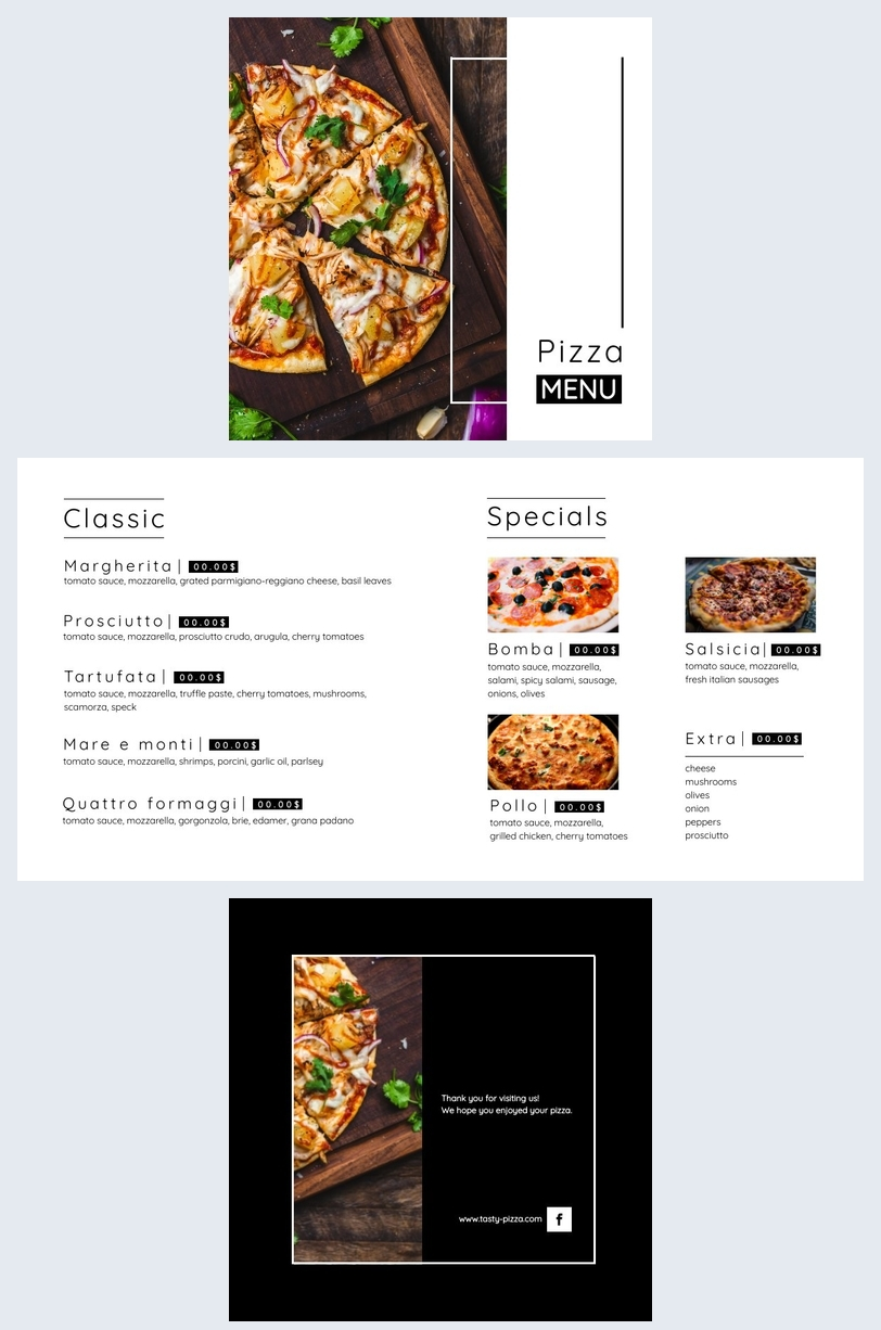 Kostenlose Pizza Menü Design