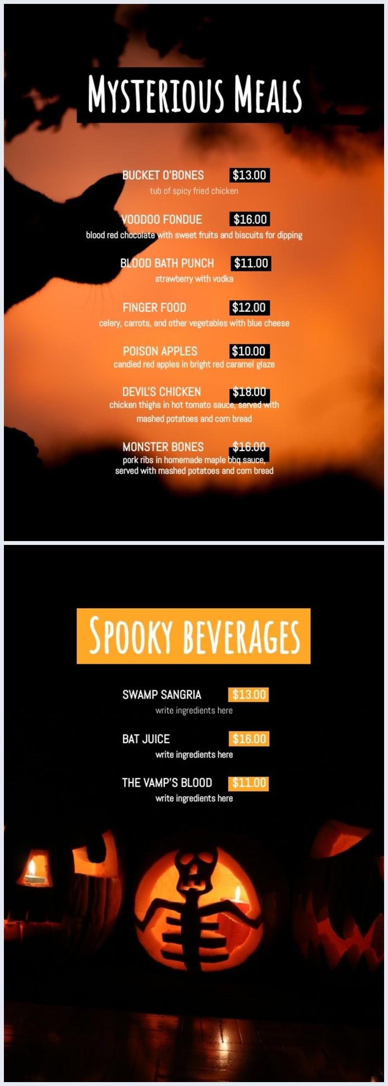 Halloween Speisekartenvorlage