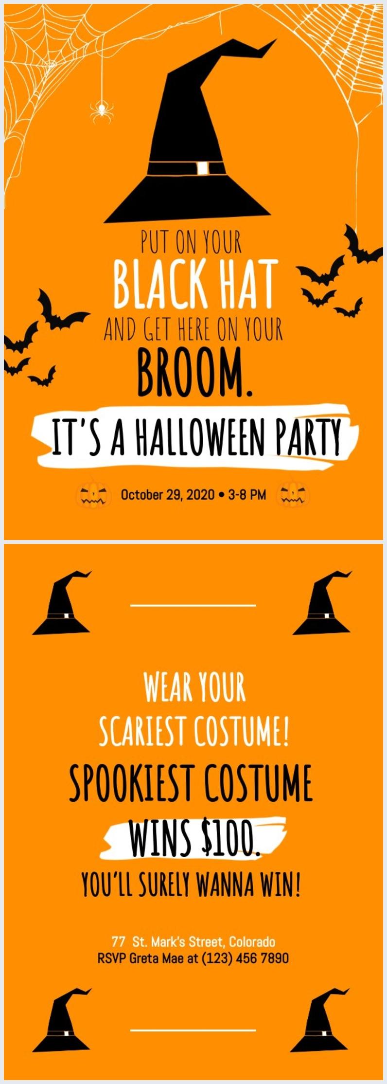 Modello per invito di Halloween