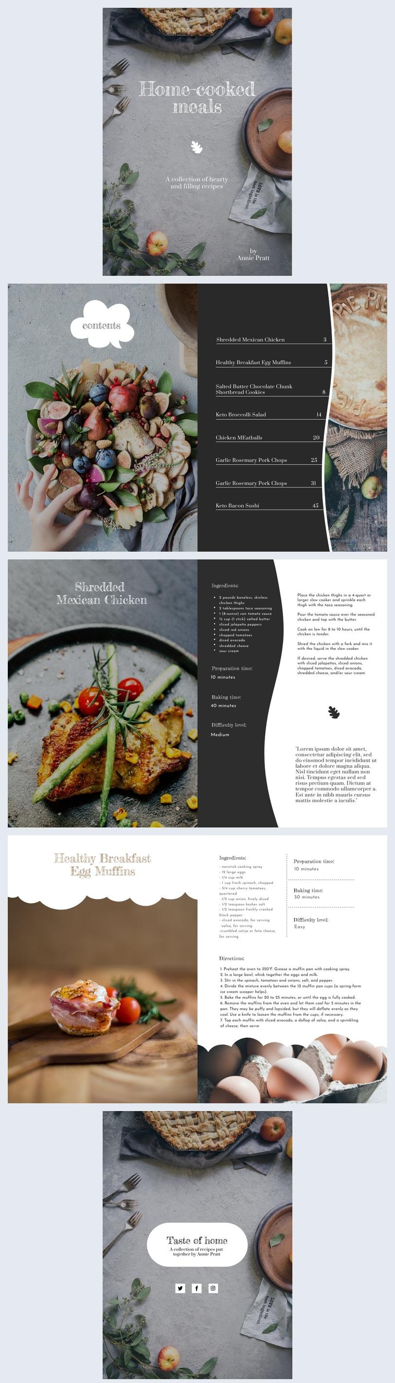 Plantilla para recetas de libro de cocina