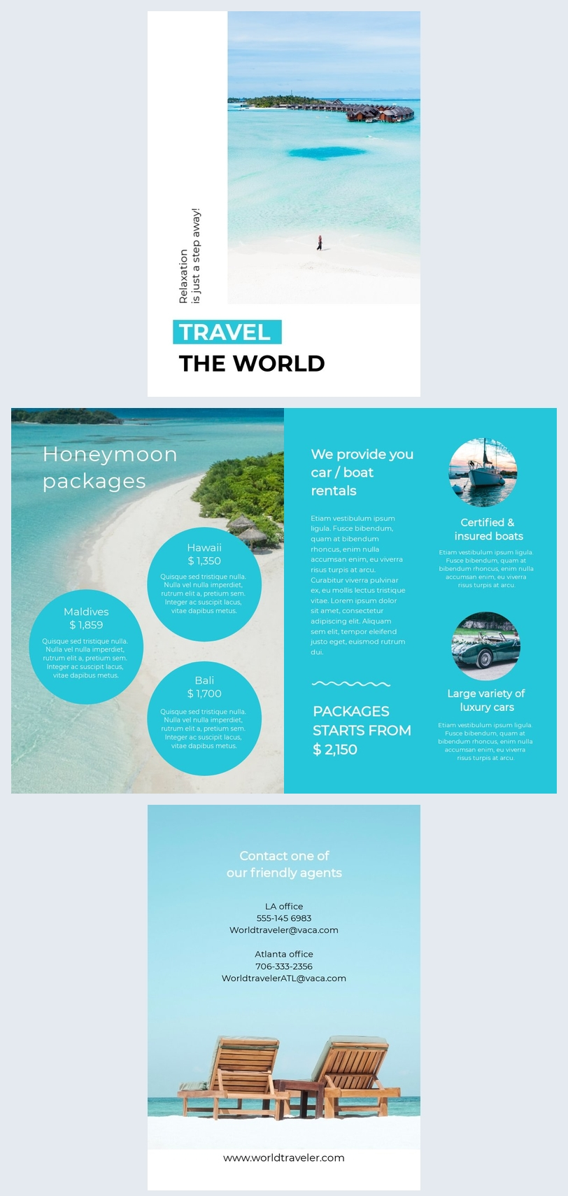 Travel Brochure with Price List Template Design
