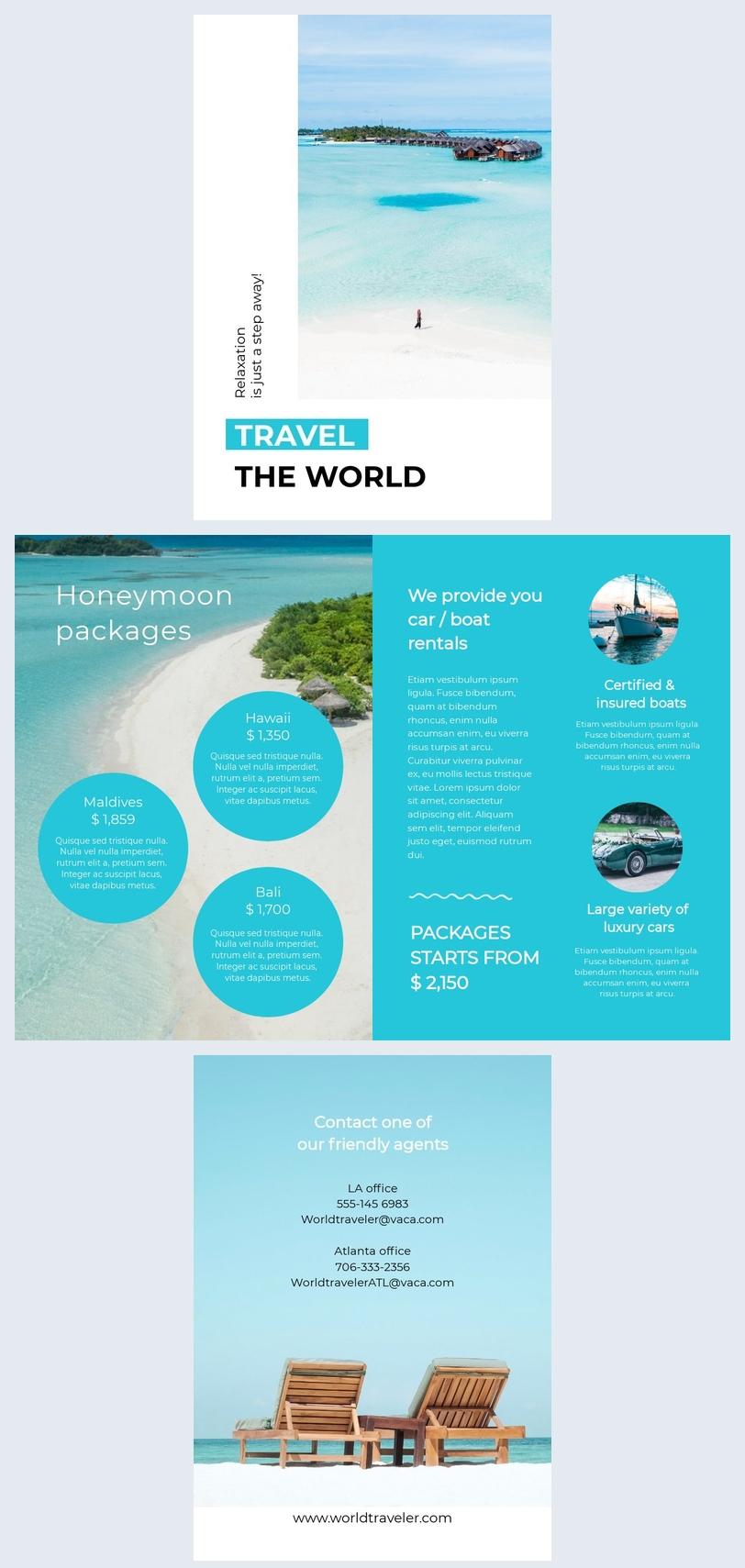 Brochure de voyage avec modèle et design de liste des prix