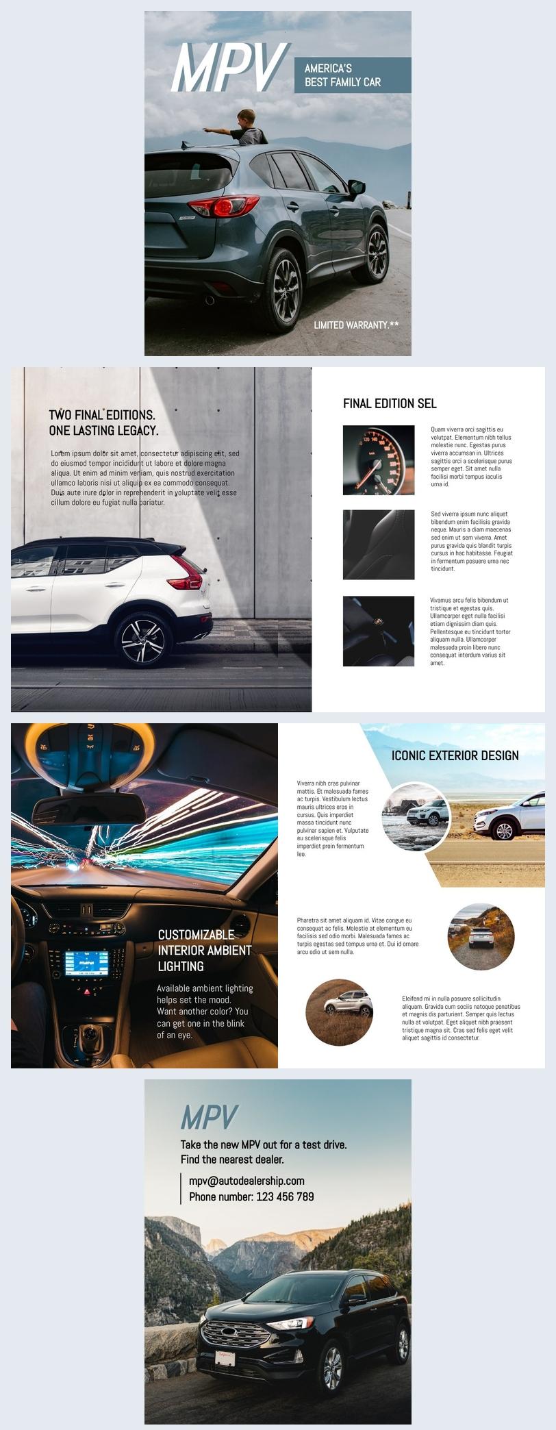 Modelo de Brochura de Carro