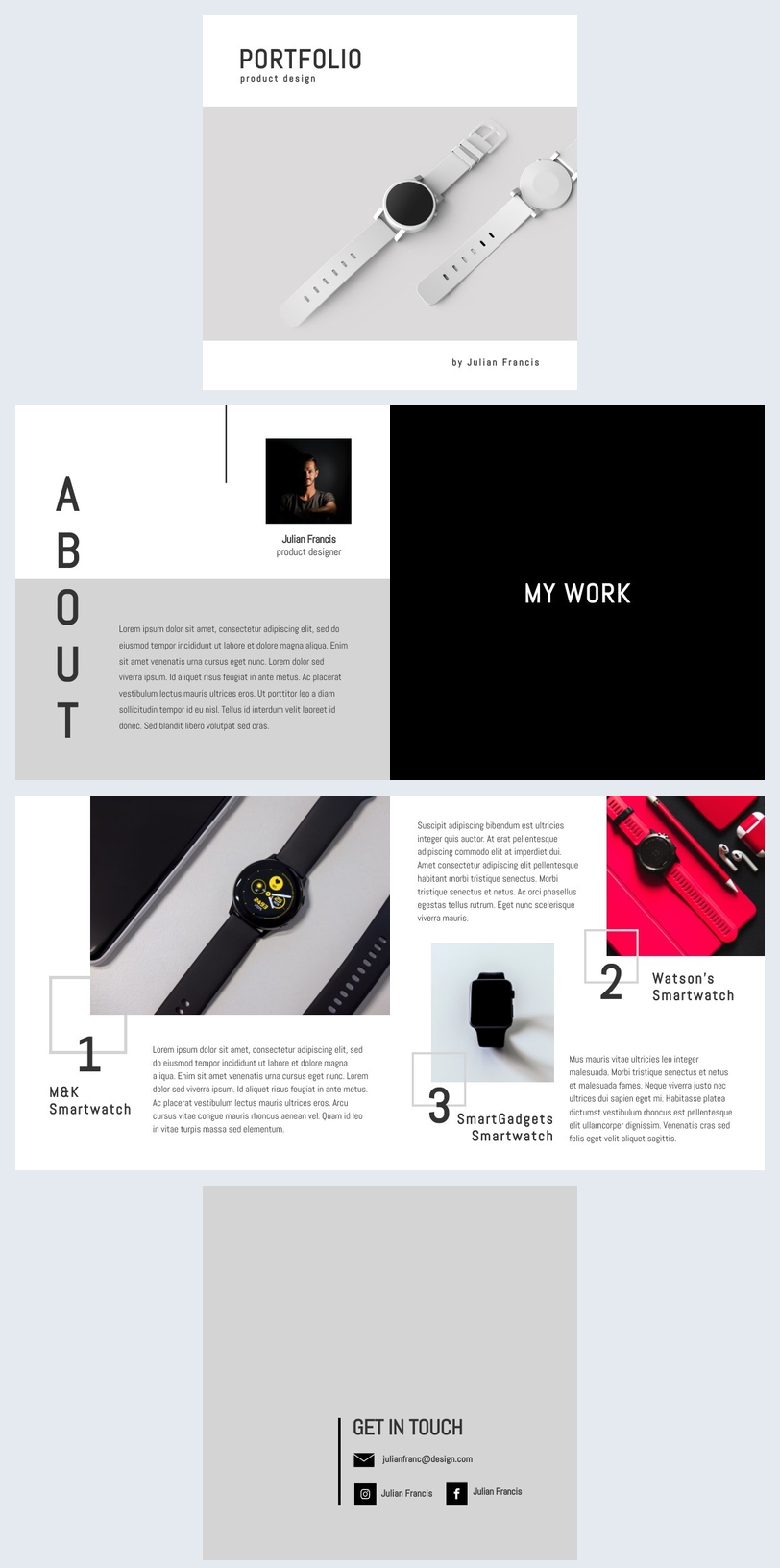 Modello per portfolio di product design