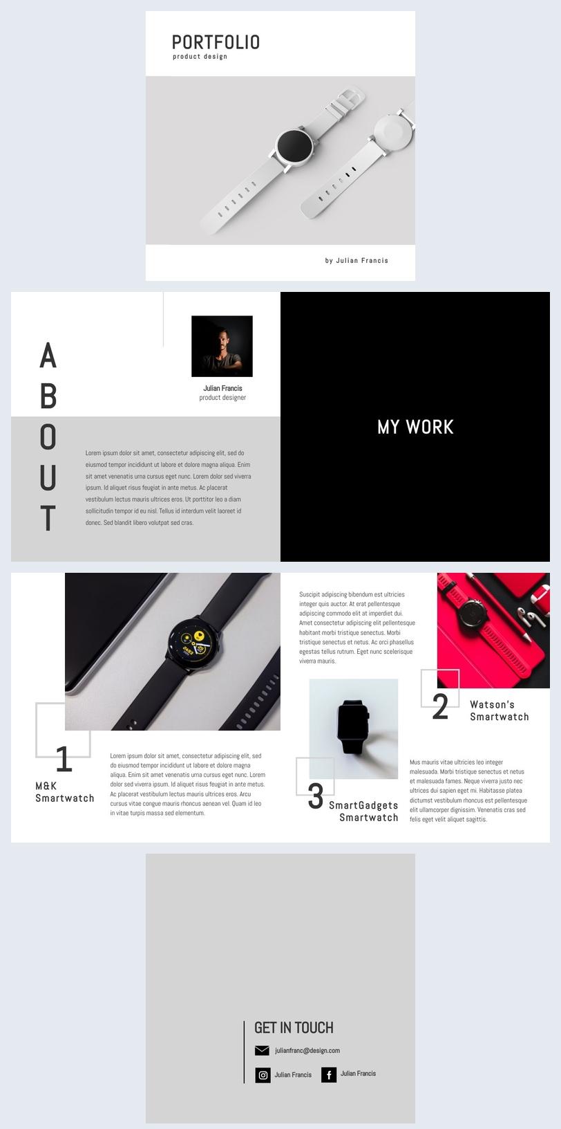 Modèle de portfolio de designer produits