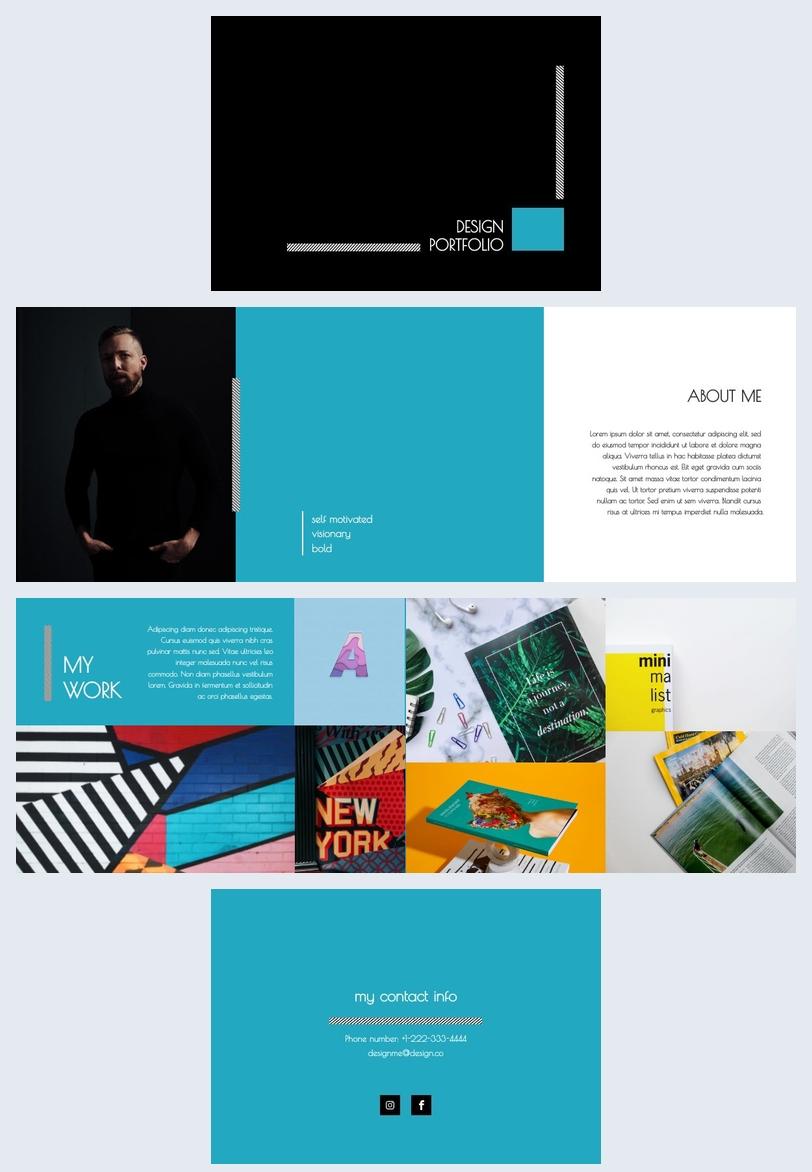 mod u00e8le et design de portfolio  u00e0 th u00e8me bleu