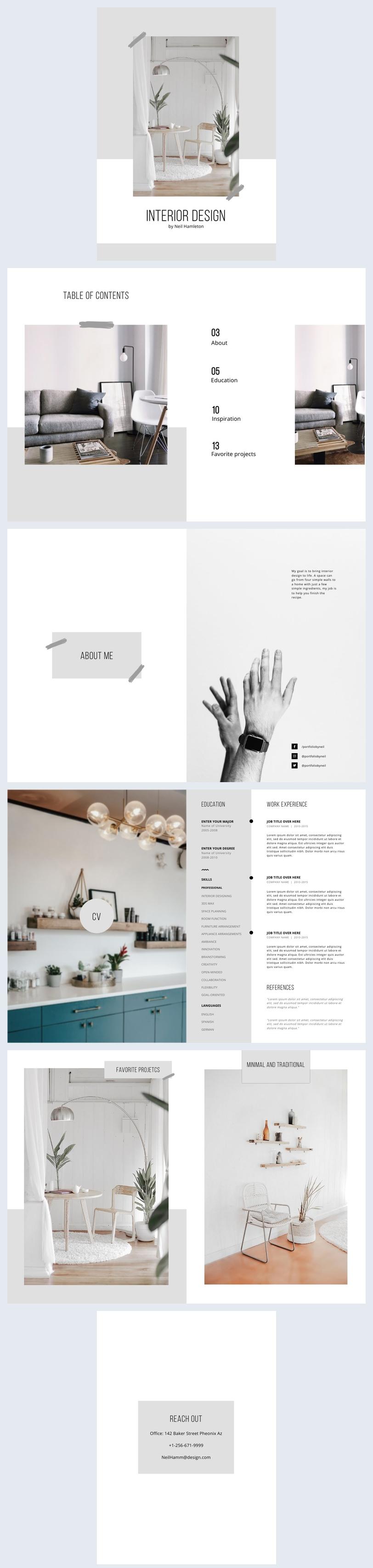 Modello per portfolio di interior design