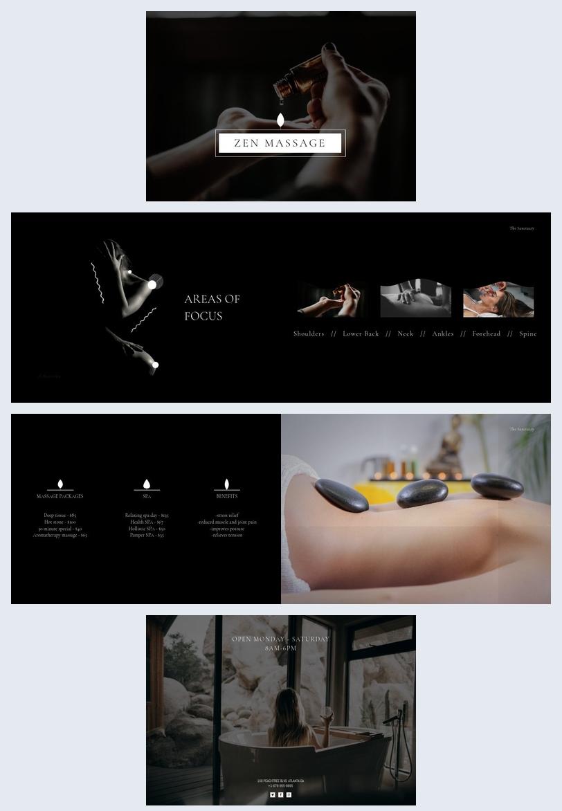 Modello per opuscolo di centro massaggi
