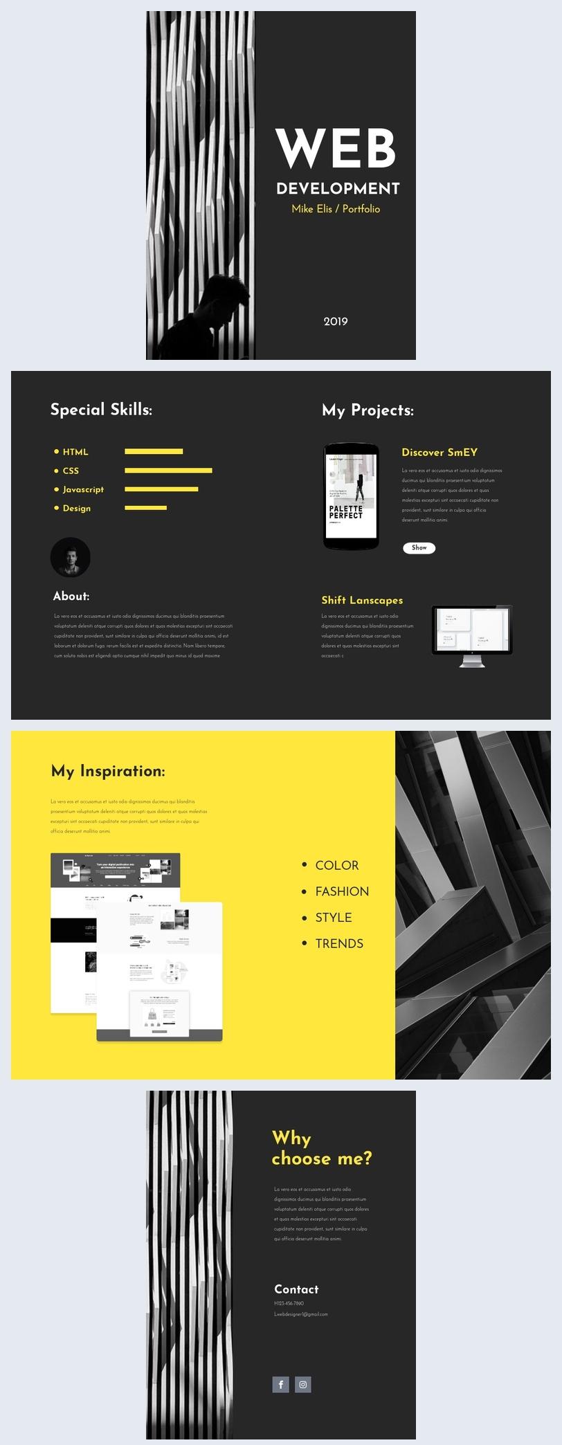 Modèle de portfolio pour développeur web