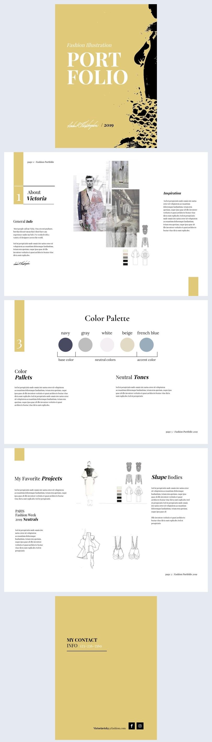 Modello per portfolio di illustrazione moda