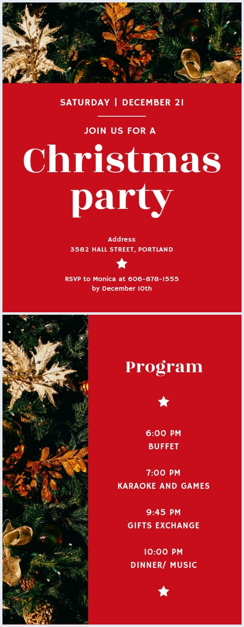 Red Christmas Party Program Template Flipsnack