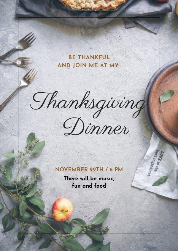 Plantilla sin costo para invitación de Acción de gracias