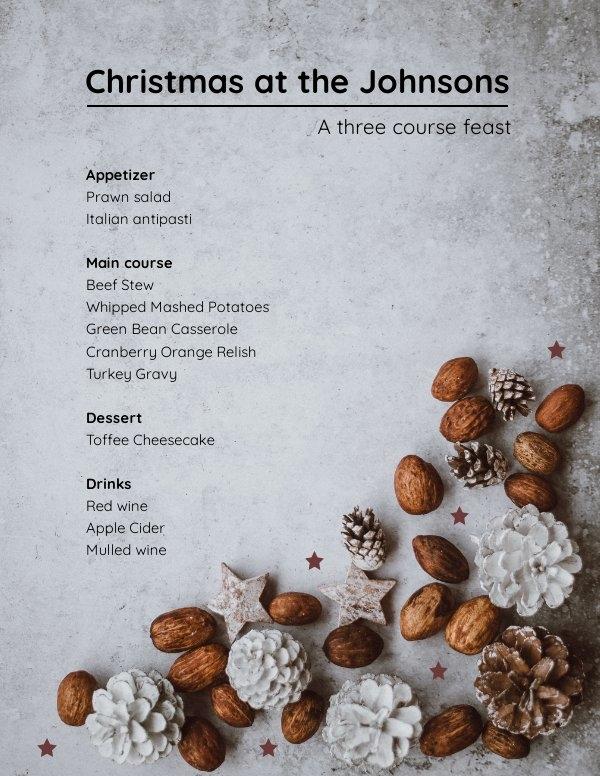 Modèle de menu de Noël modifiable gratuit