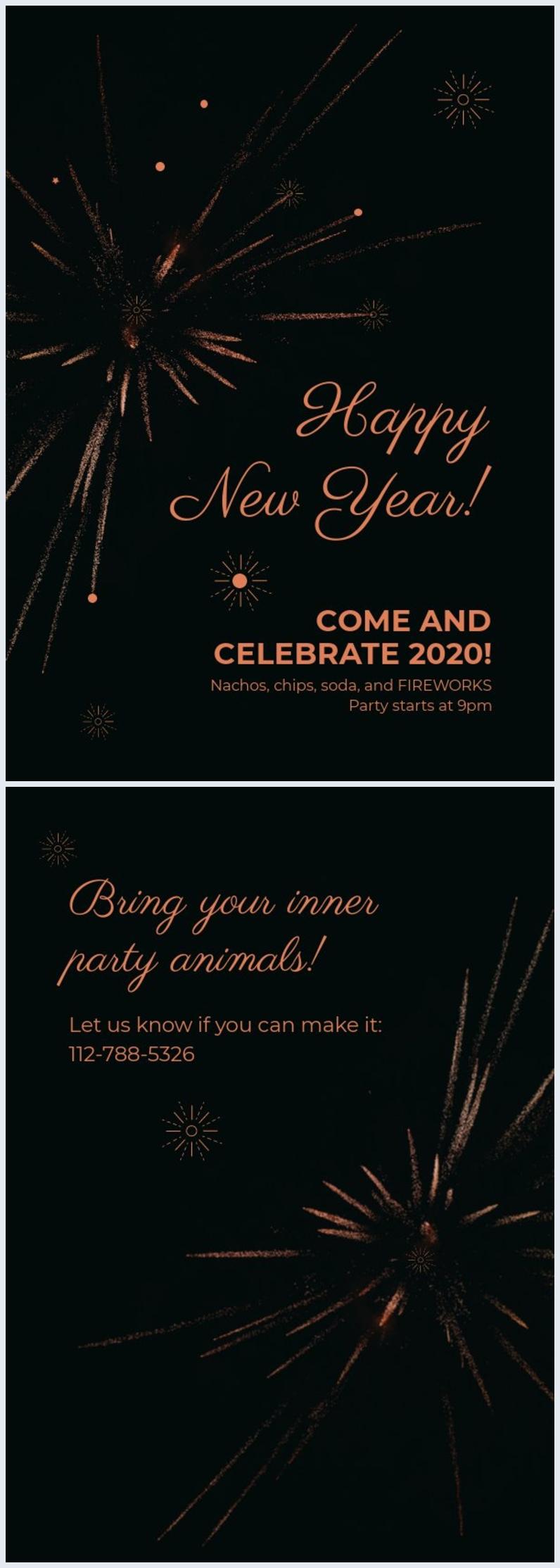 Plantilla para invitación a la fiesta de Año nuevo