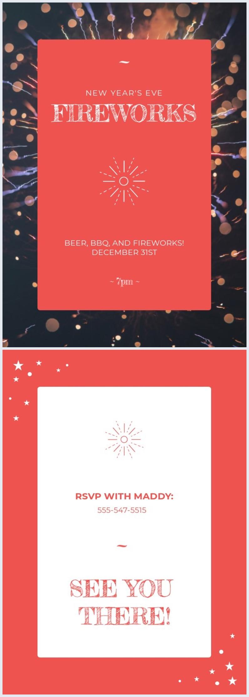 Plantilla para invitación a la víspera de Año nuevo