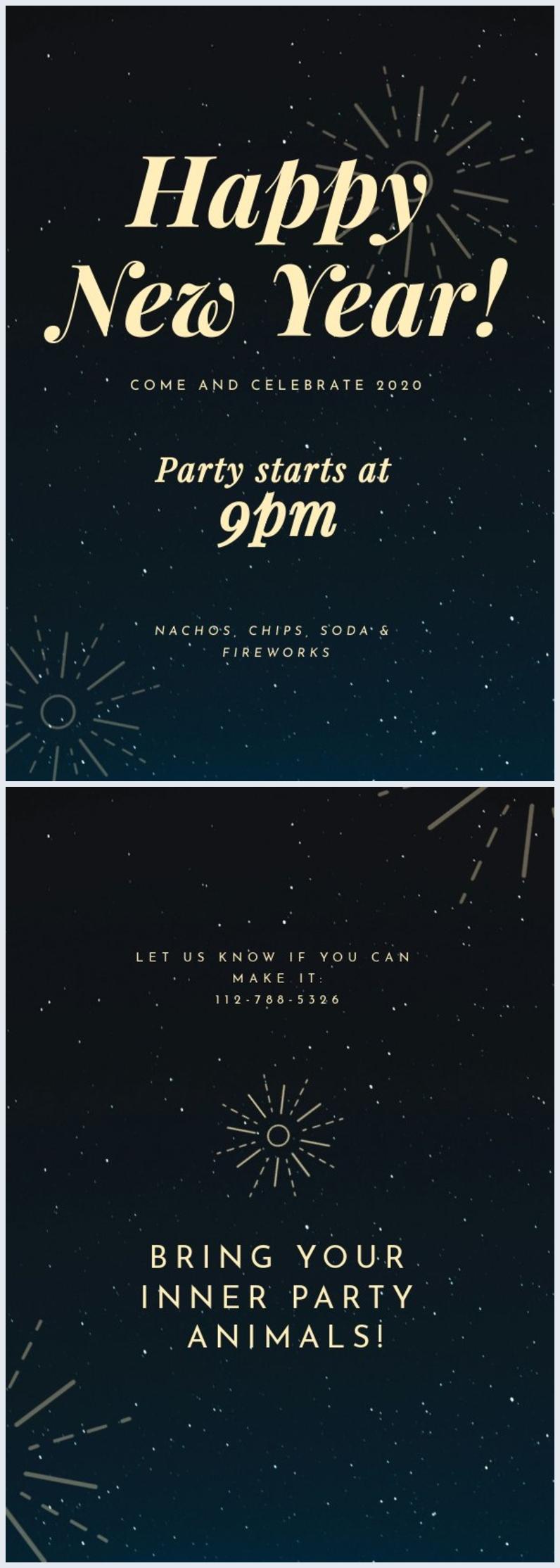 Oudejaarsavond Feest Uitnodiging Sjabloon