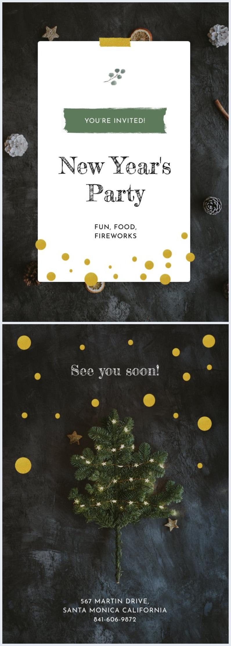 Plantilla para tarjeta invitación de Año nuevo