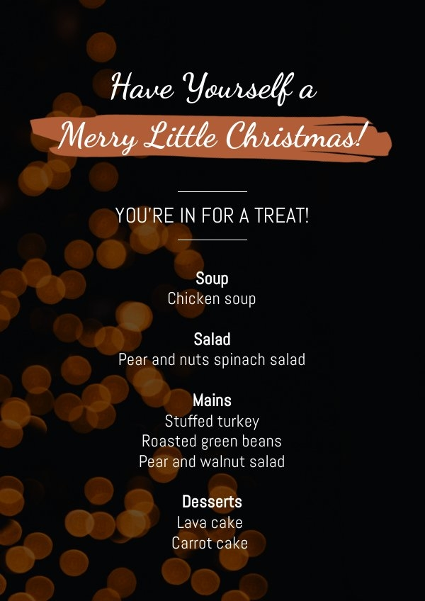Xmas Menu Sjabloon