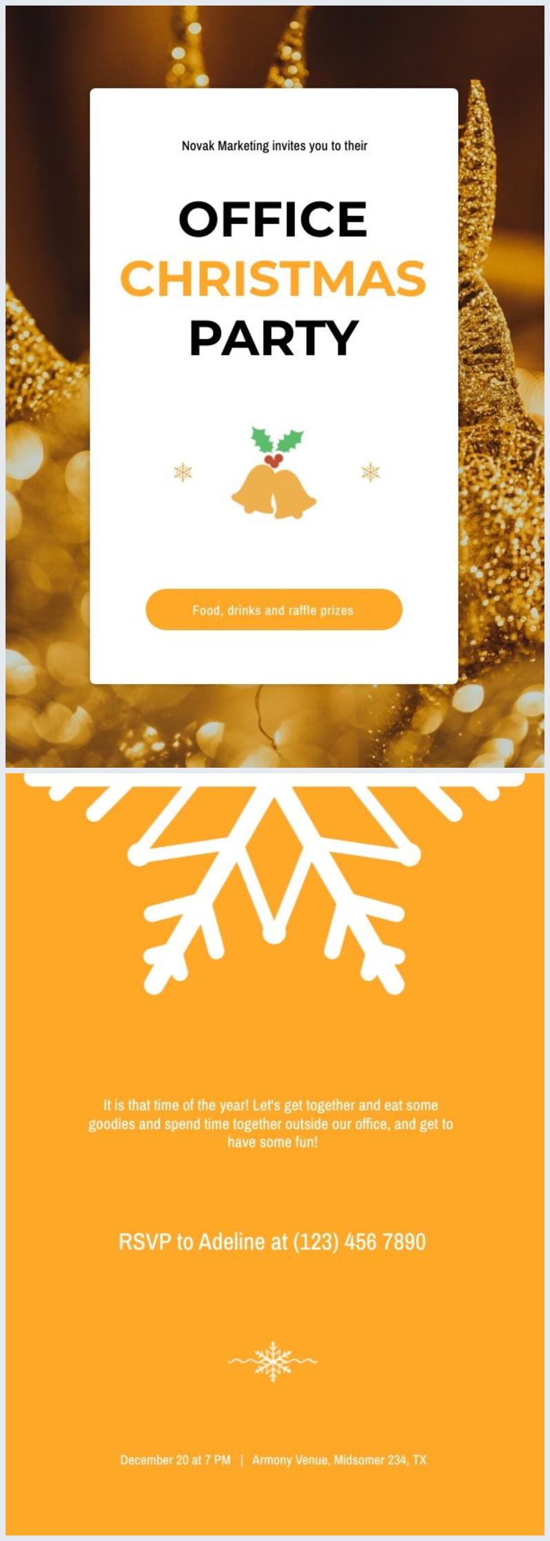 Modèle d'invitation de fête de Noël de bureau