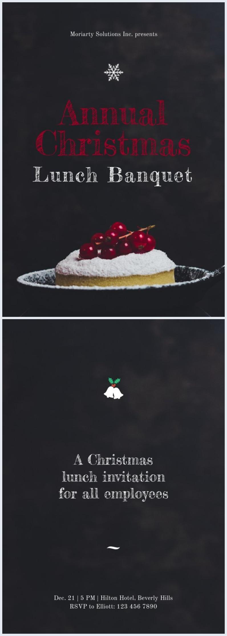 Modello per invito al pranzo di Natale