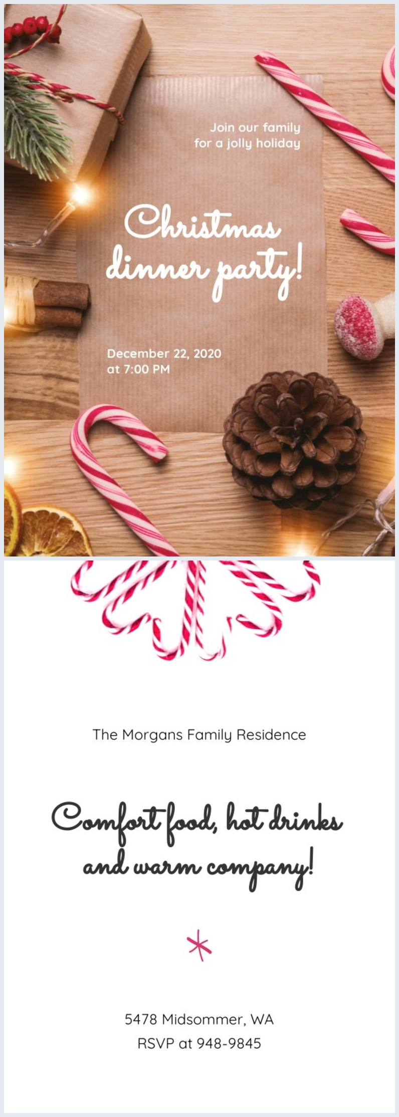 Modèle d'invitation de dîner de Noël