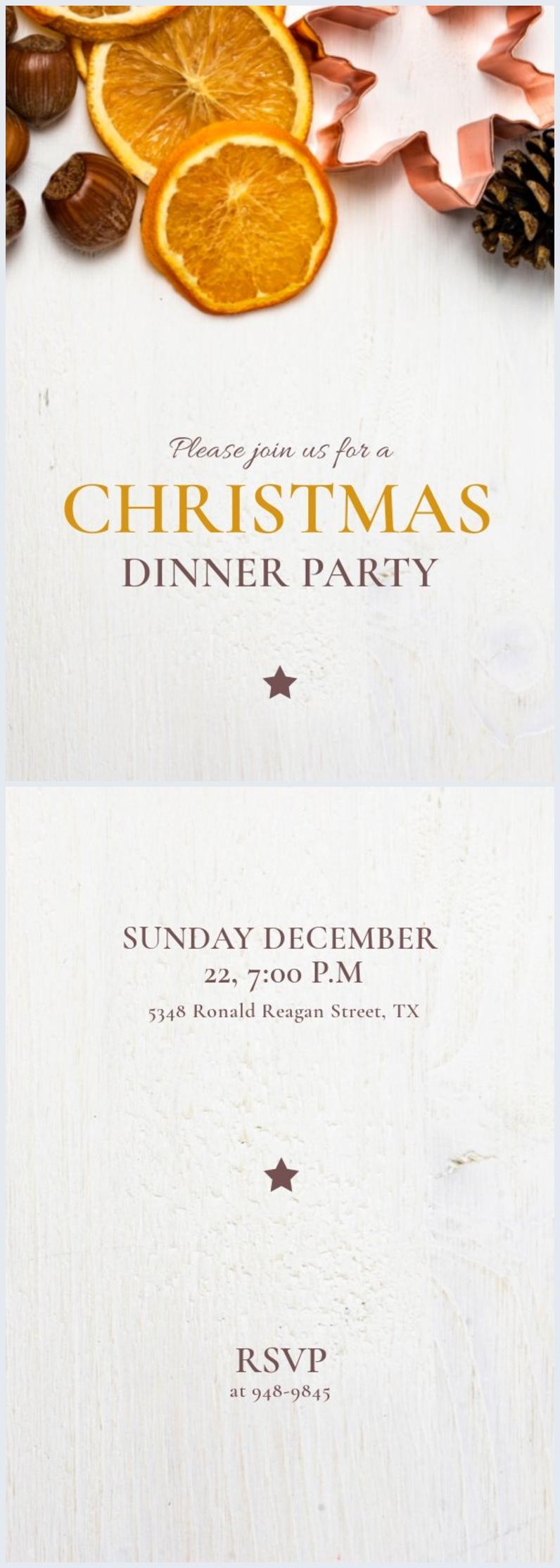 Plantilla para invitación a la cena de Navidad