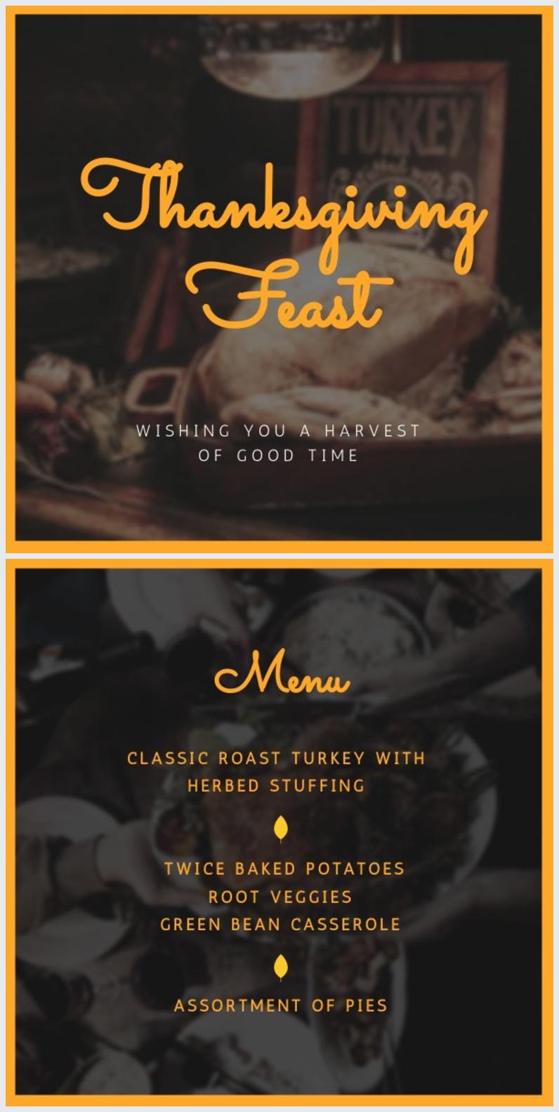 Plantilla para menú de cena de Acción de Gracias
