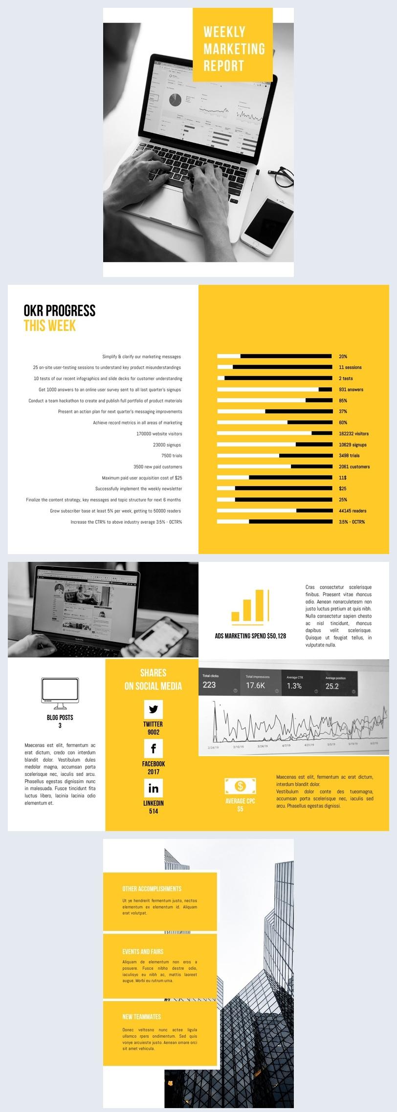 Modello per report settimanale di marketing