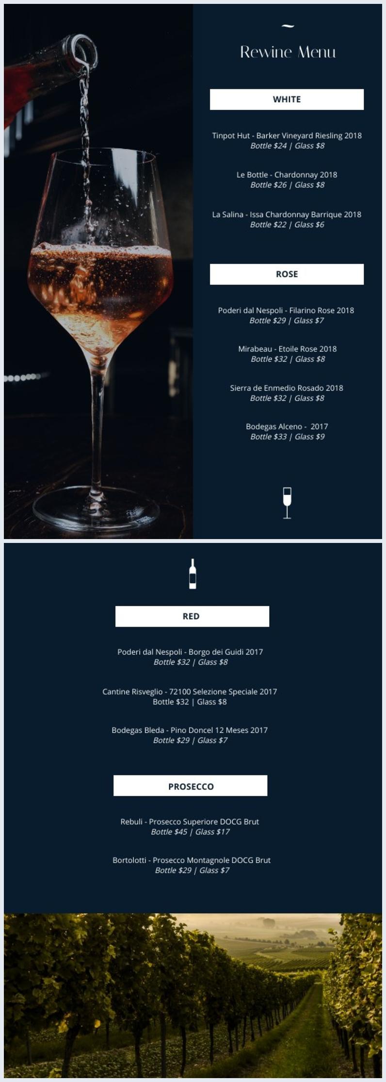 Modello per carta dei vini