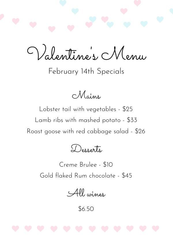 Plantilla para menú de San Valentín