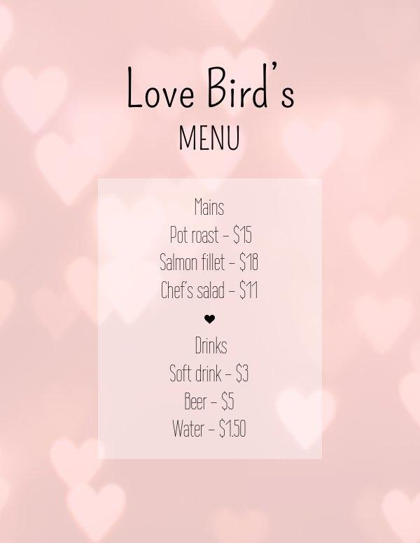 Modello gratuito per menù di San Valentino