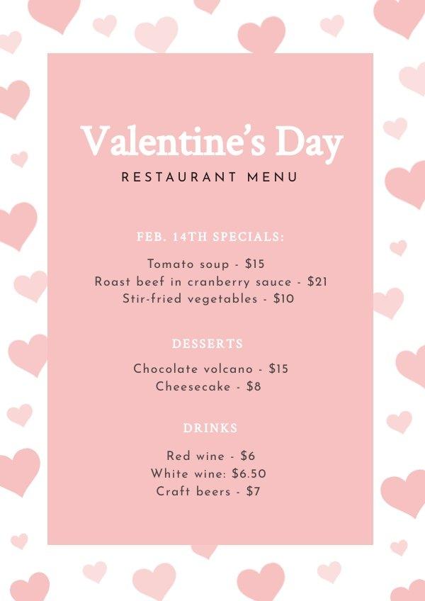 Plantilla para menú del Día de San Valentín