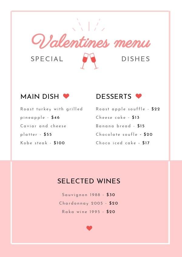 Modello per menù di San Valentino