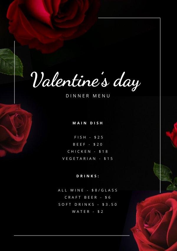 Plantilla para menú de cena del Día de San Valentín