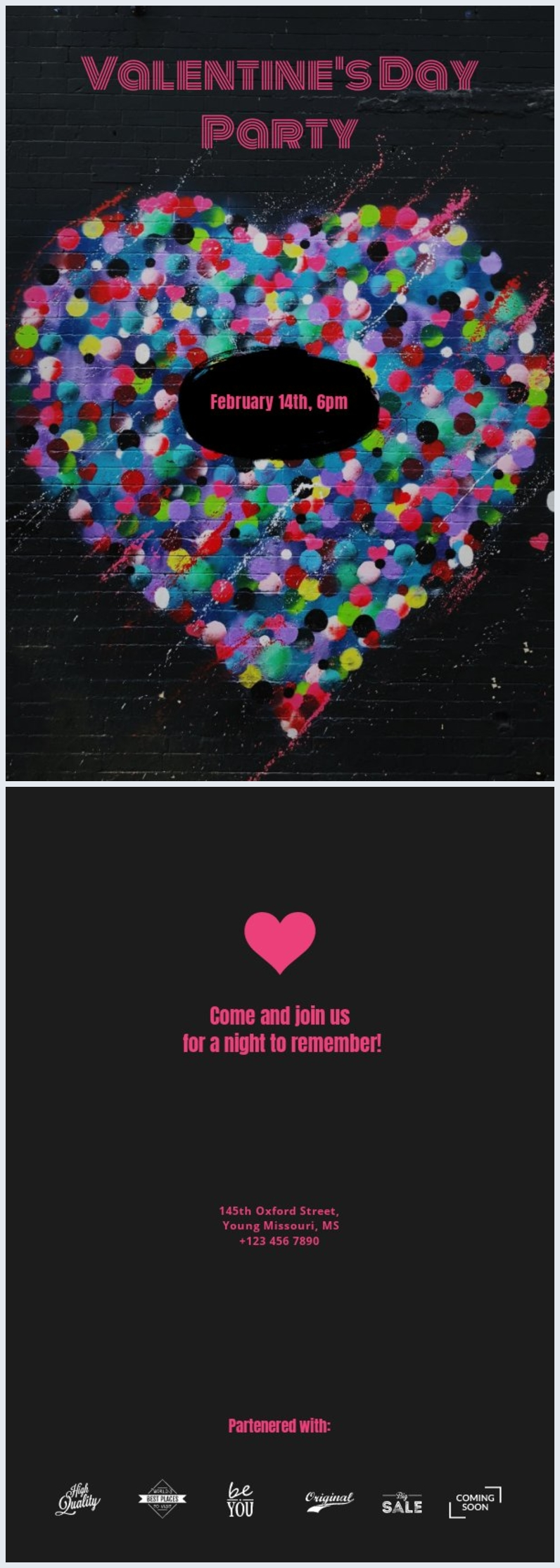 Valentinstags-Partyflyervorlage
