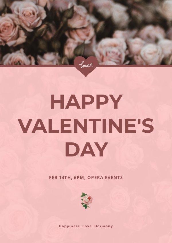 Plantilla para cartel de felicitación del Día de San Valentín