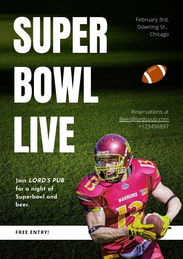 Modello per invito del party Super Bowl