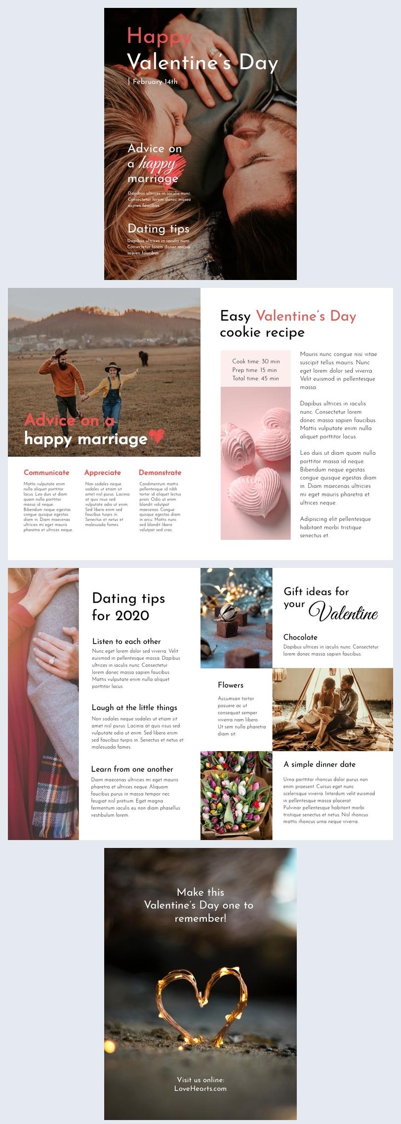 Layout de Revista do Dia dos Namorados
