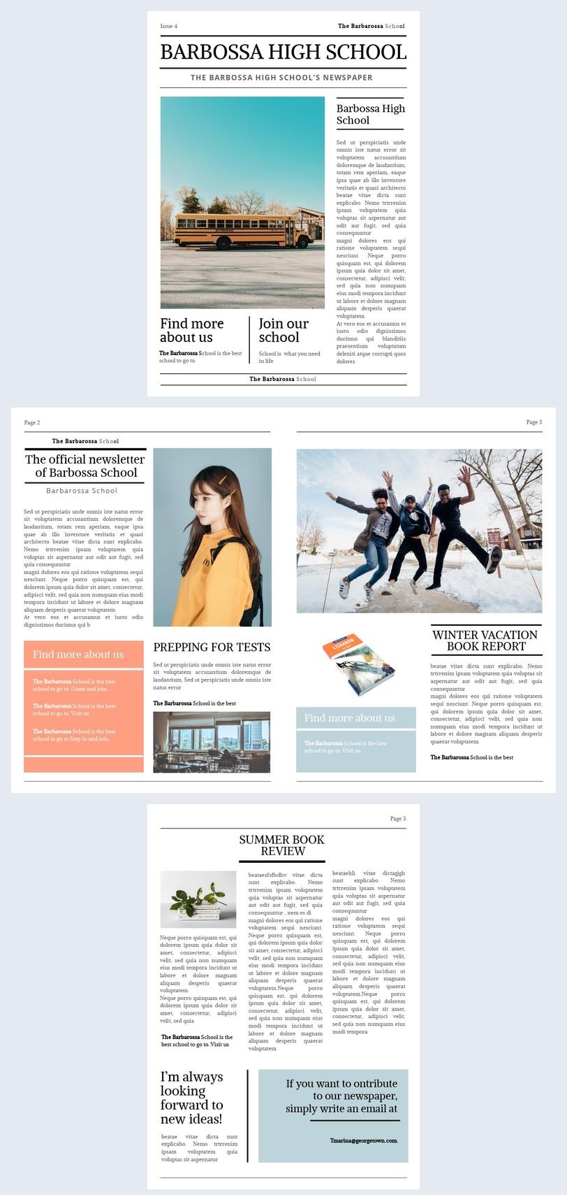 Vorlage für eine Schülerzeitung mit Mittelstufe
