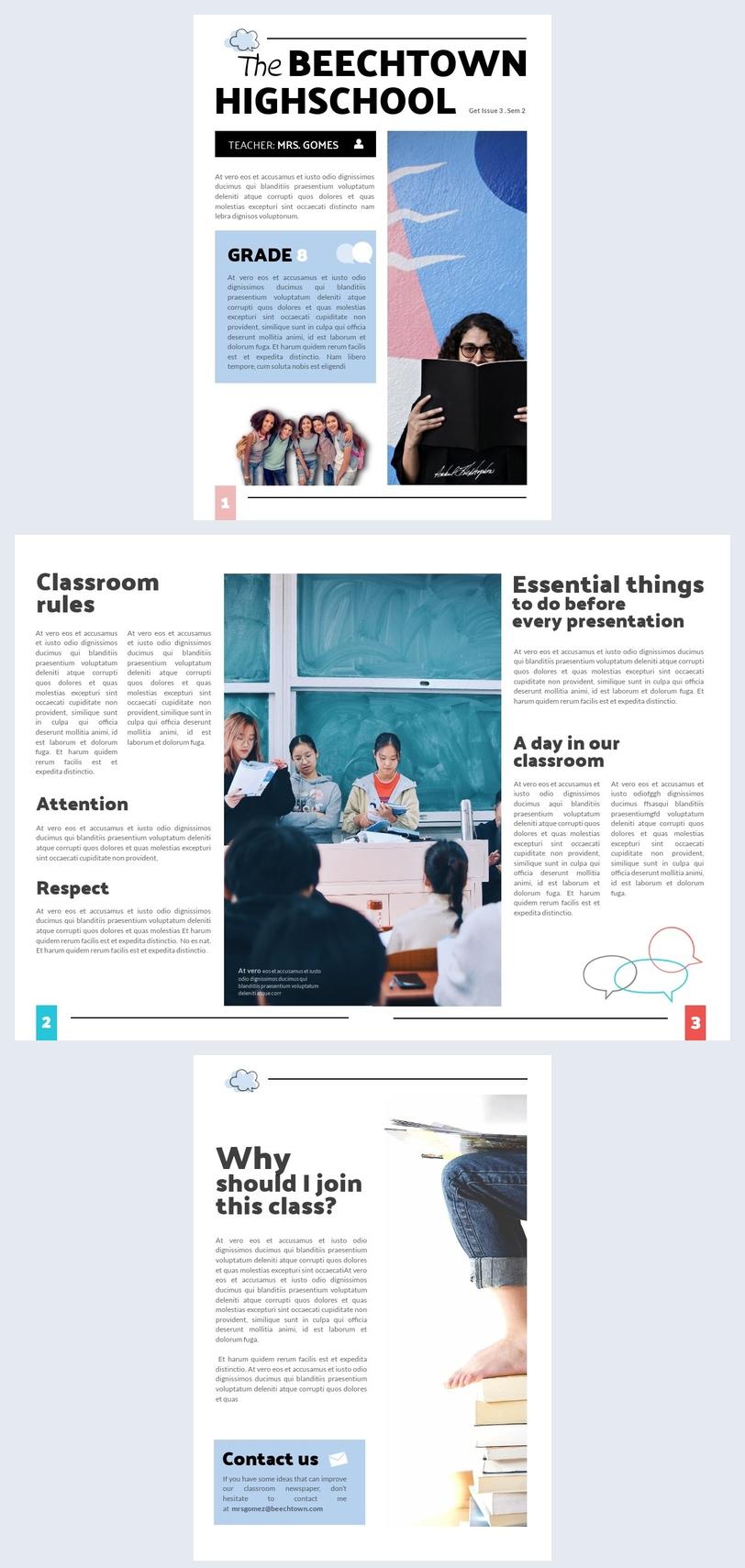 Plantilla moderna para periódico del aula
