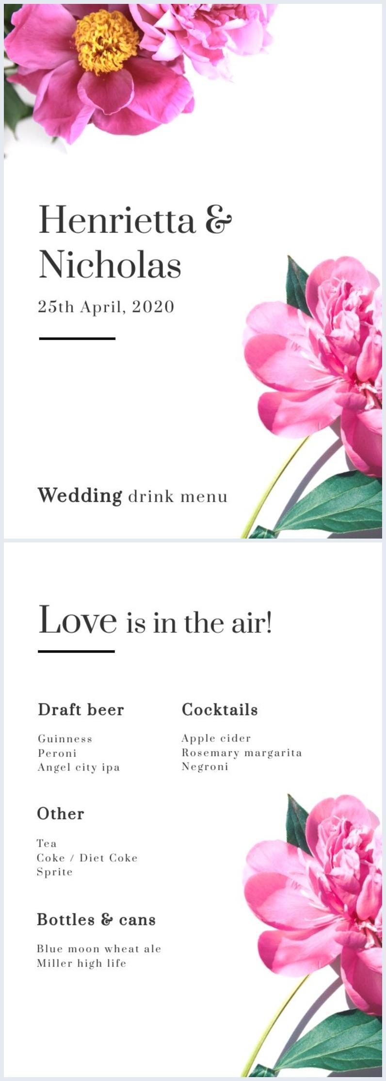 Blumige Hochzeitgetränke-Menüvorlage