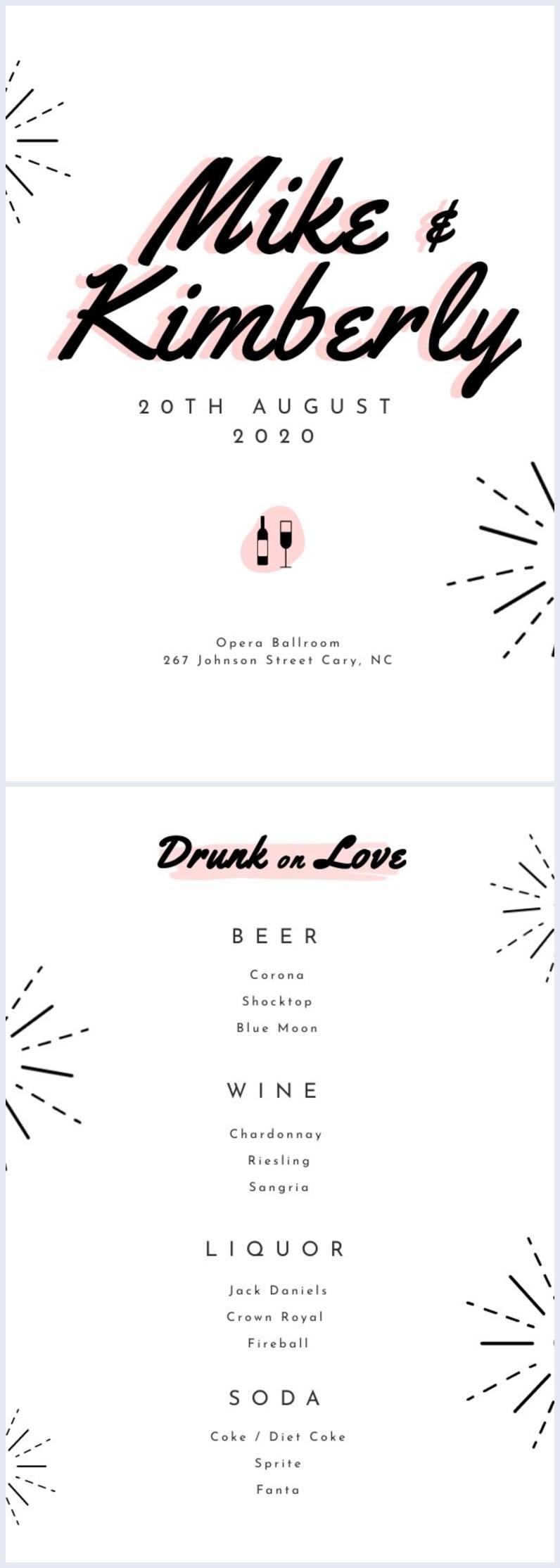 Modèle de menu de boisson de mariage