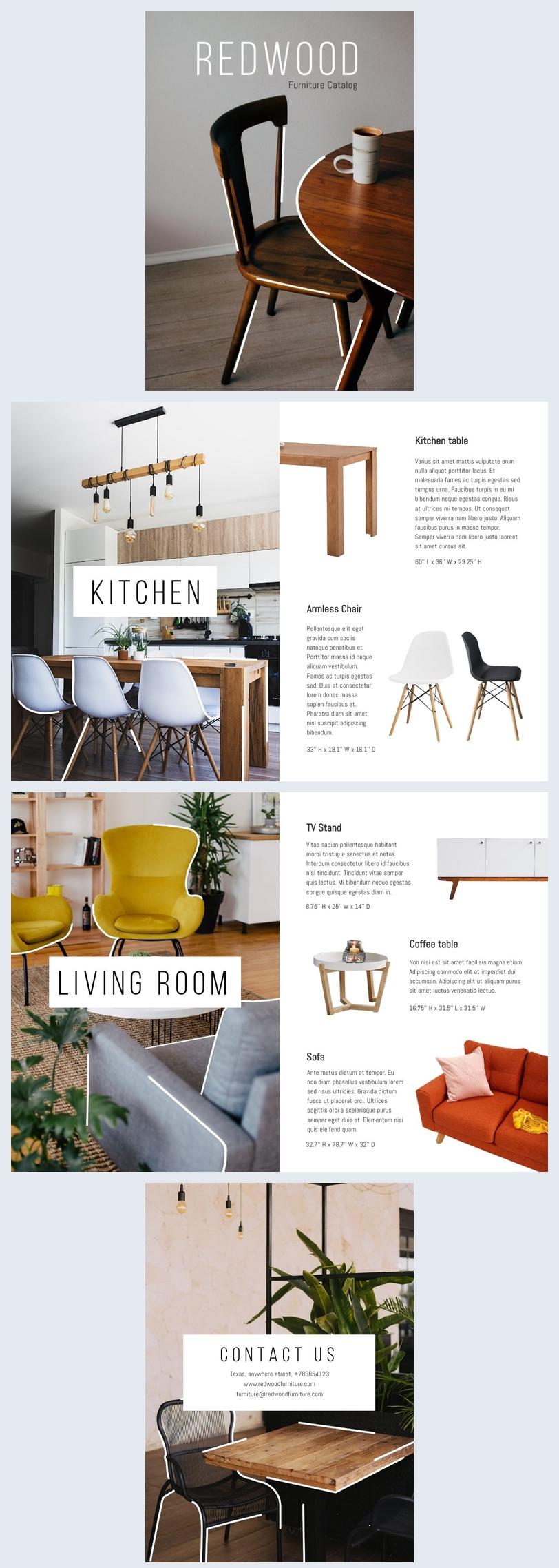 Grafica per catalogo di mobili