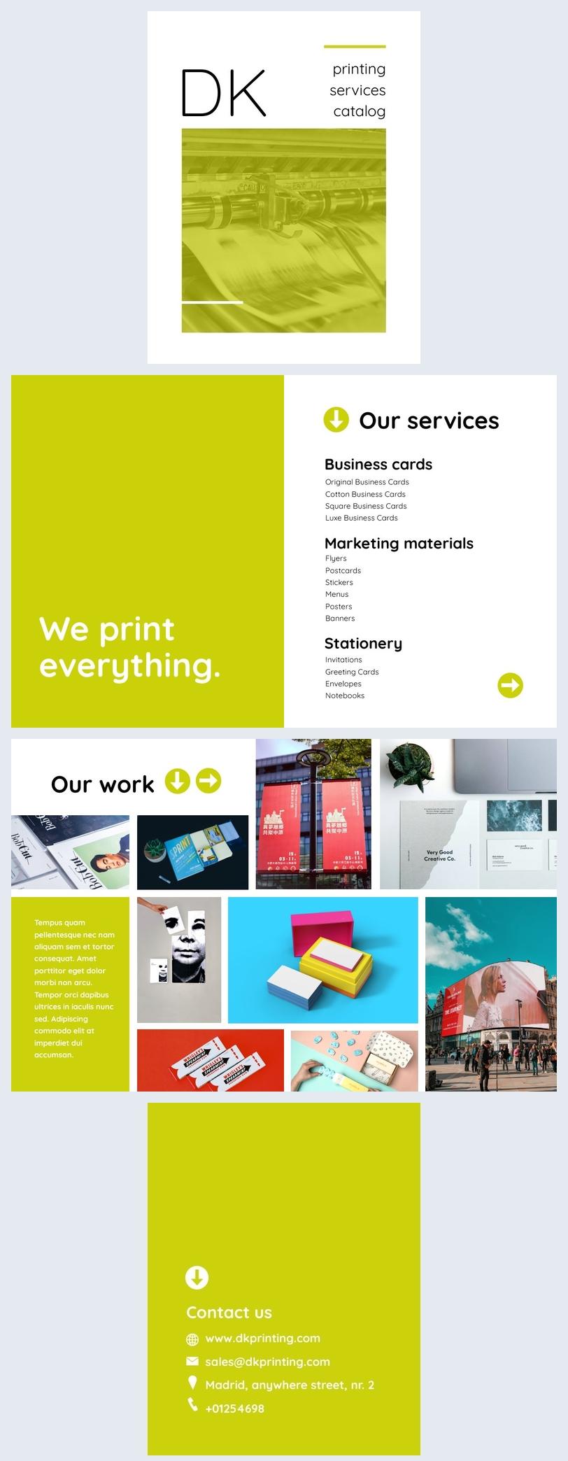 Grafica di catalogo aziendale
