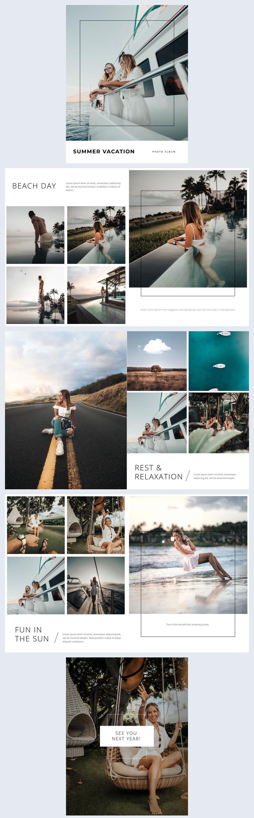 Modello elegante per album fotografico vacanza