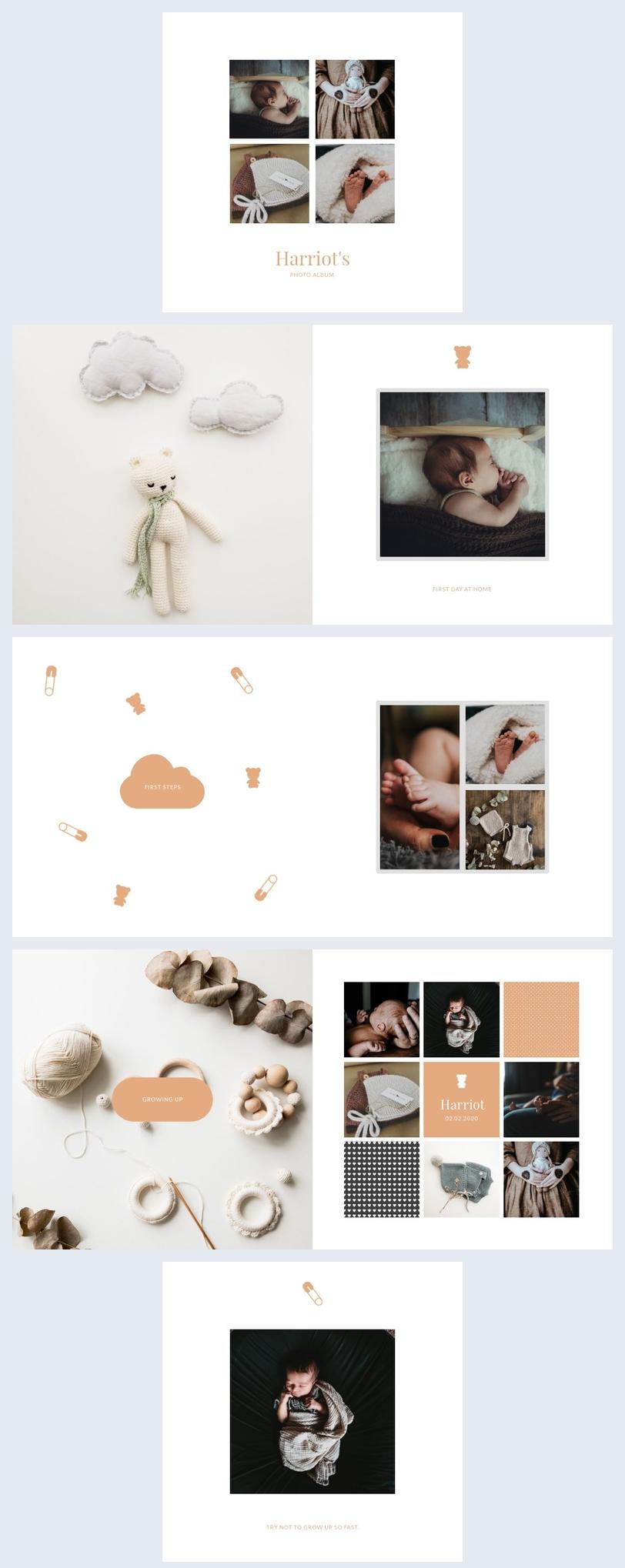 Modelo de Design de Álbum de Fotos de Bebê