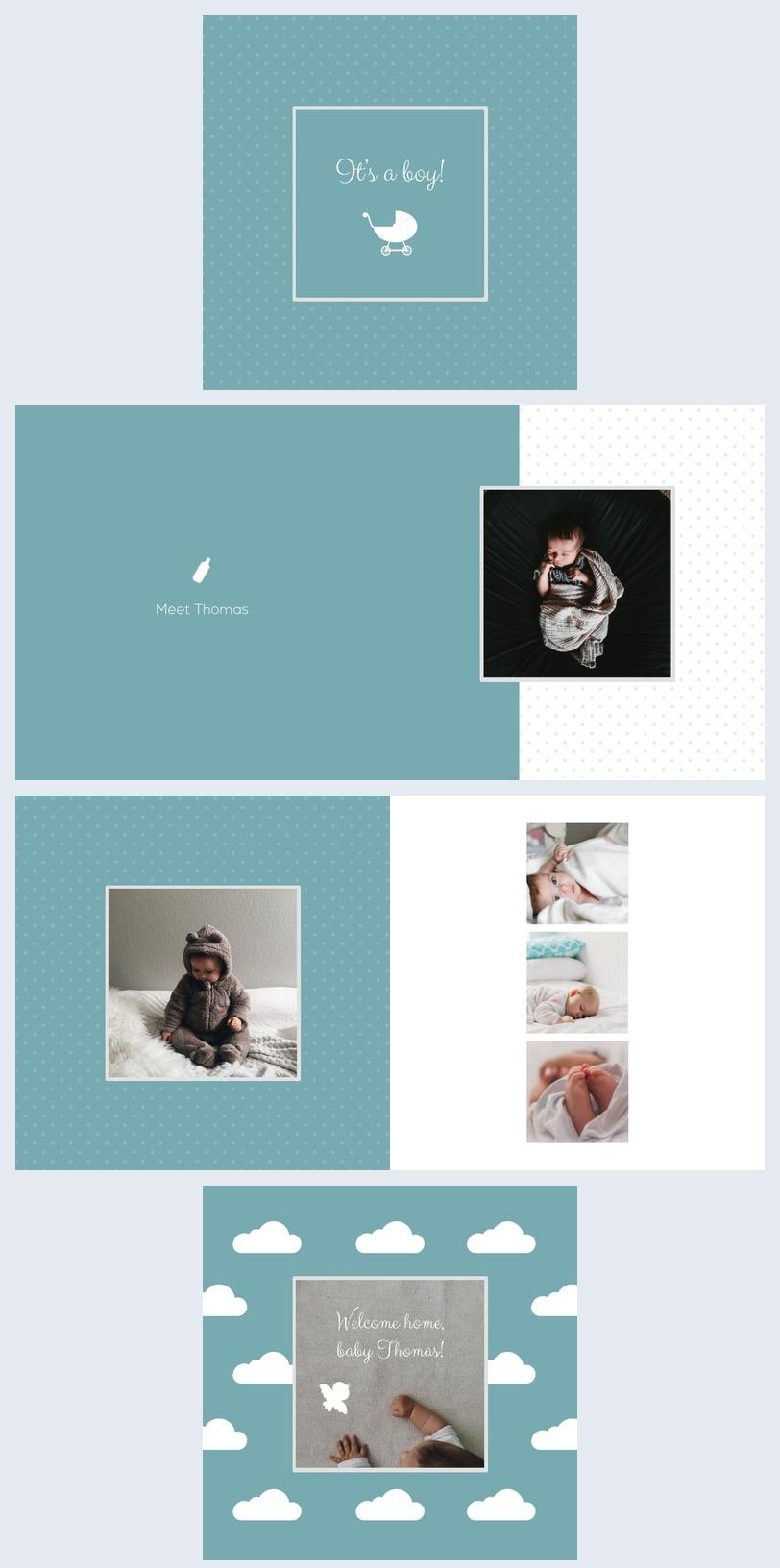 Modèle d'album photo menthe pour bébé garçon