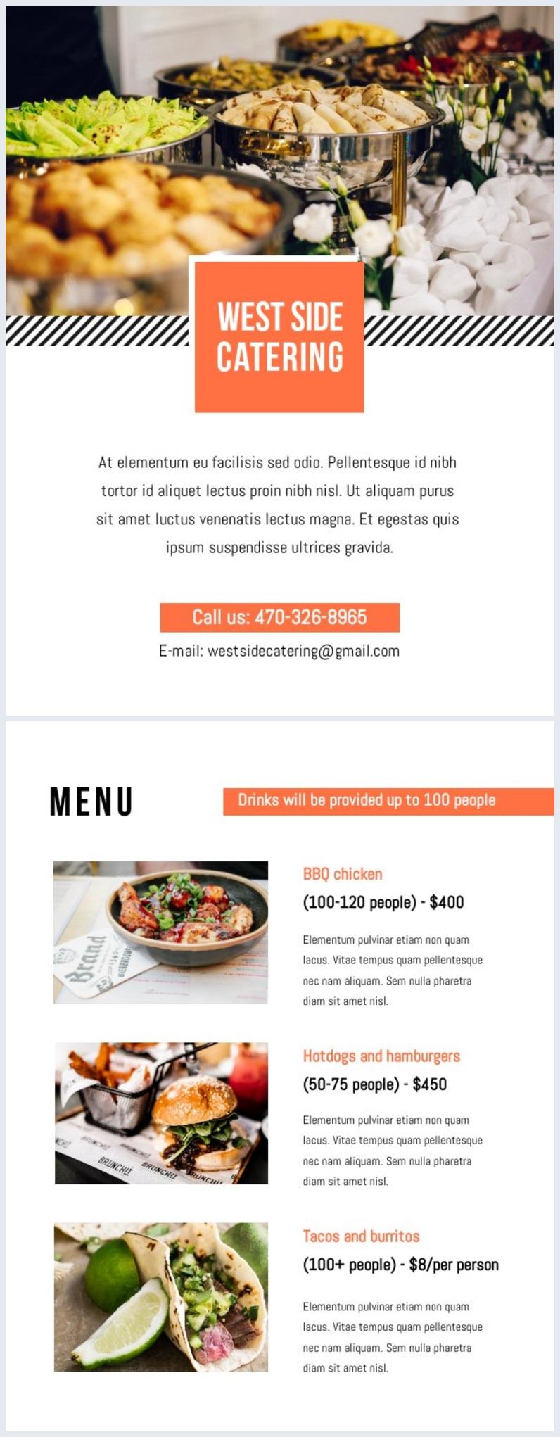 Modello gratuito per menù del catering