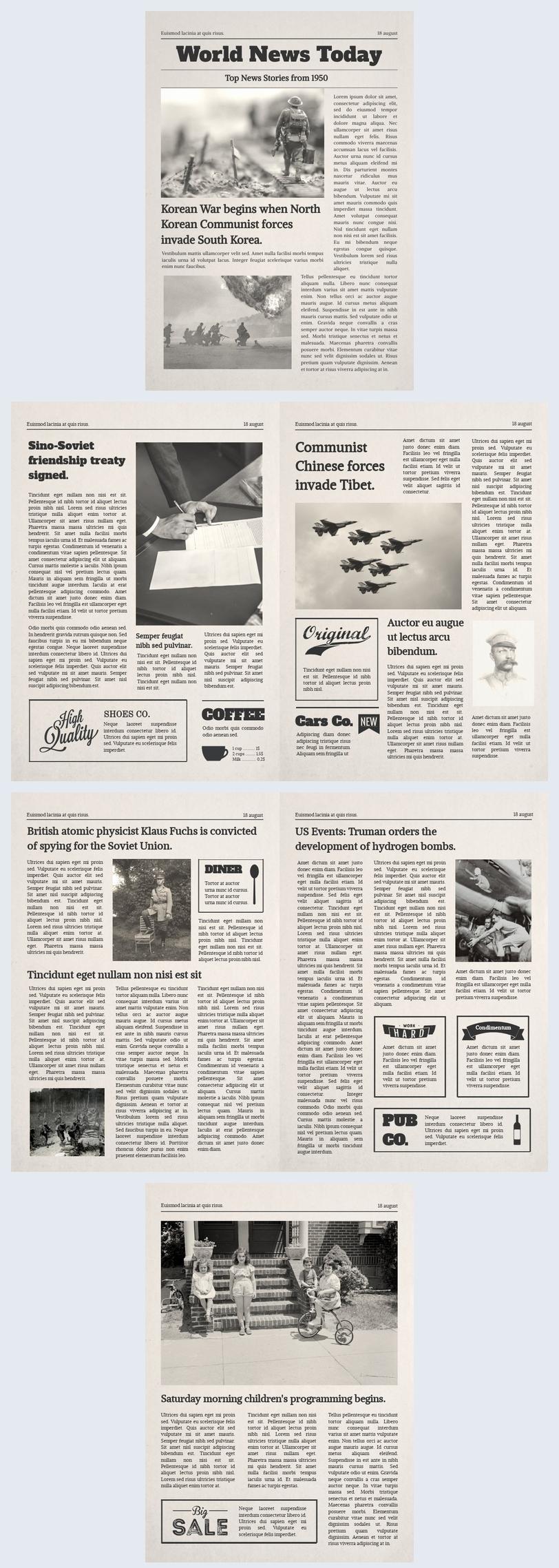 Modello per giornale vecchio stile